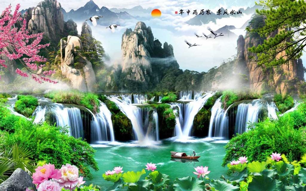 山水风景流水生财源滚滚电视背景墙图片