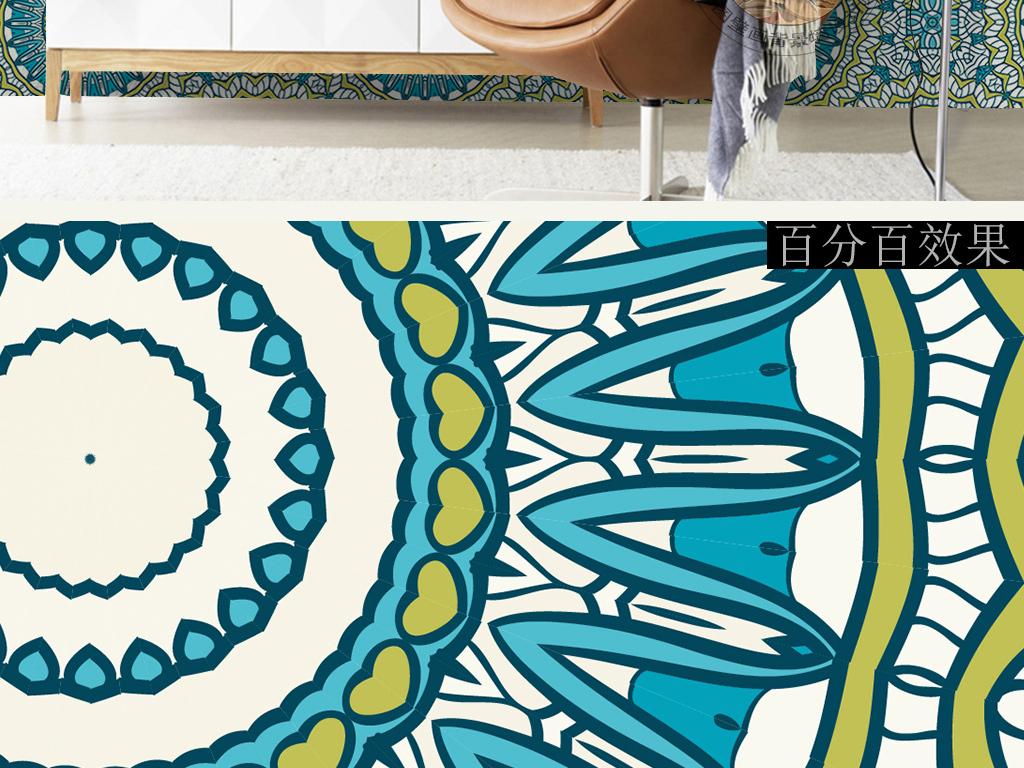 蓝色抽象花纹图案几何简单图形手绘欧式墙纸