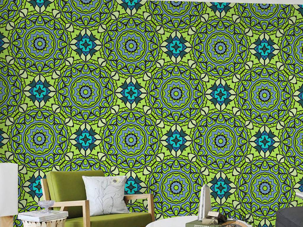 绿色环保抽象花卉图案手绘欧式花纹墙纸