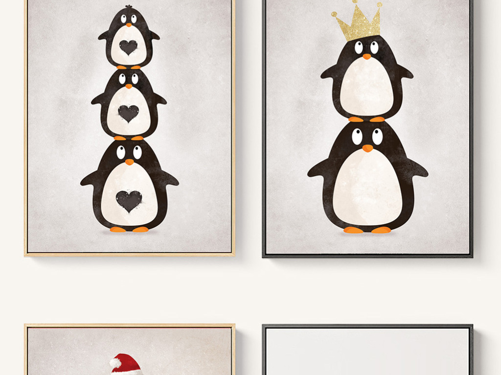 儿童房装饰画挂画企鹅帝企鹅卡通动物