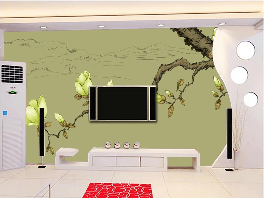 手绘玉兰树电视背景墙装饰画