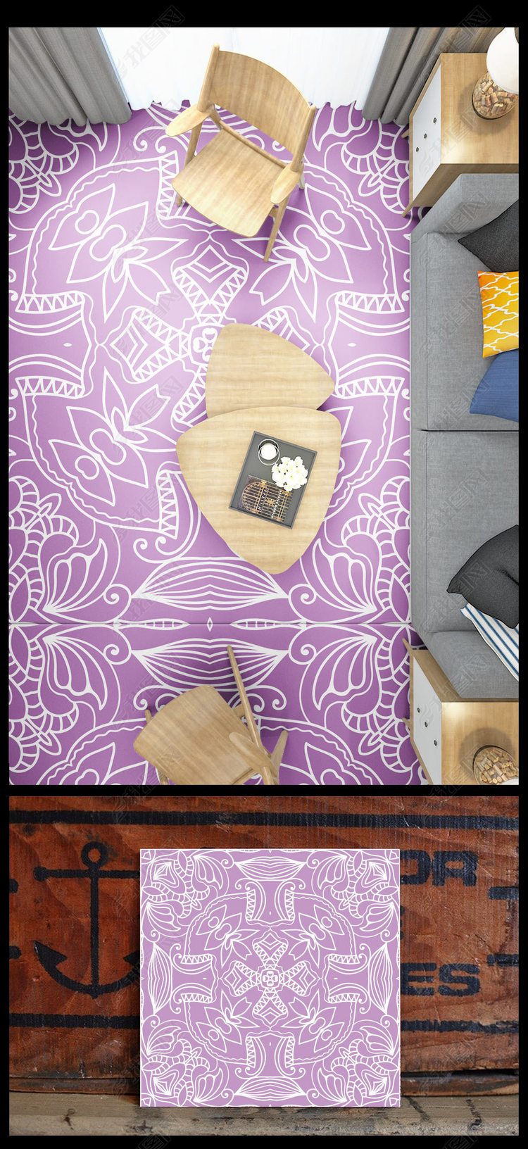 紫色现代简约经典线条花砖