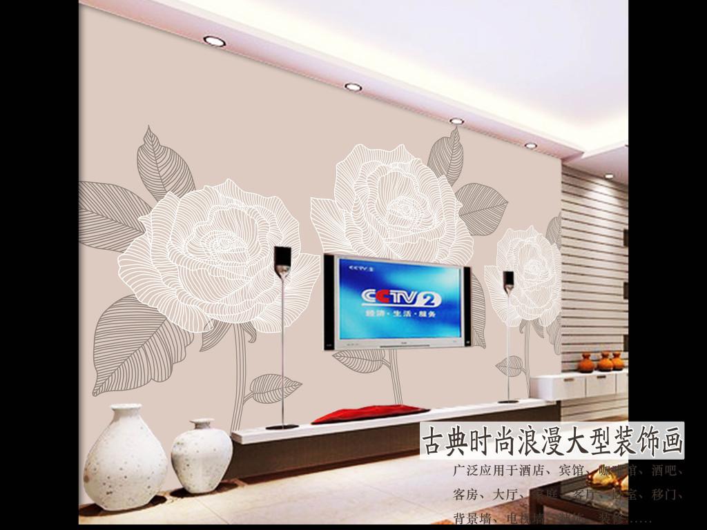 手绘线条玫瑰时尚装饰画电视背景墙