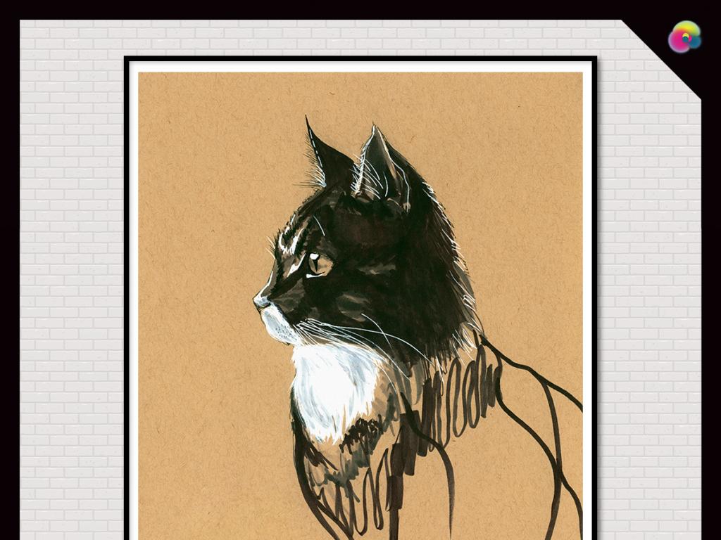 背景墙|装饰画 无框画 动物图案无框画 > 复古手绘怀旧水彩素描猫咪无