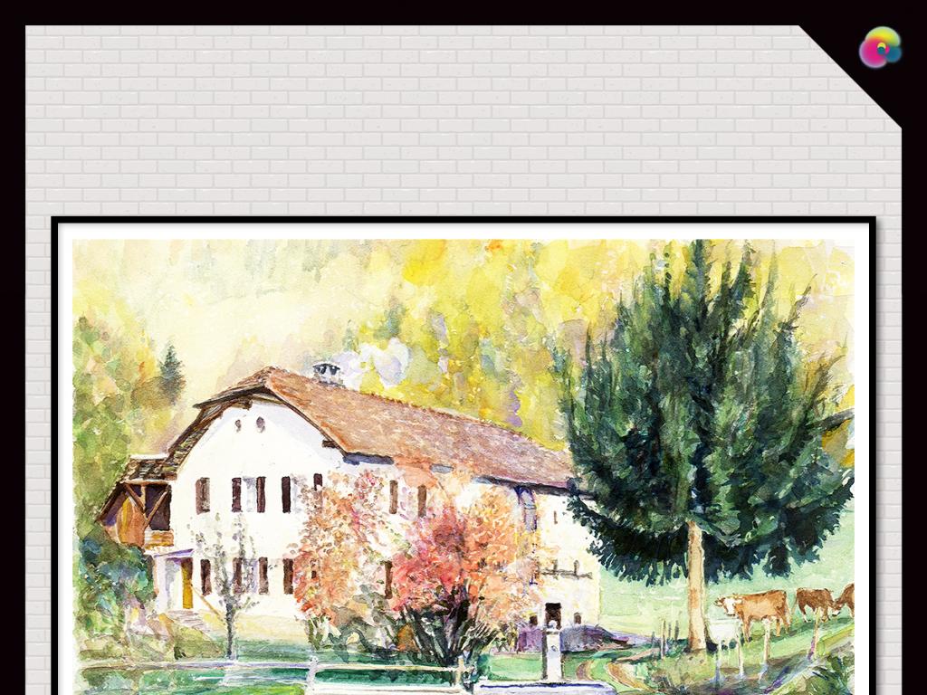 手绘速写背景墙形象墙沙发背景墙酒店古典风景写生街道城市现代插画