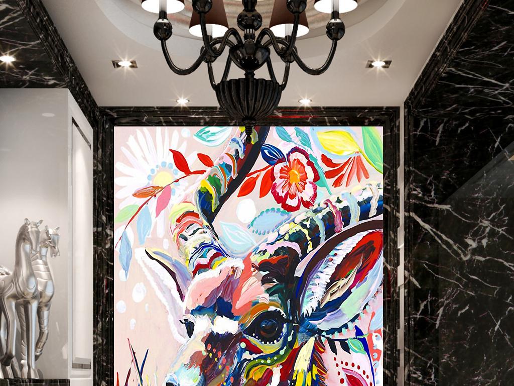 背景墙|装饰画 玄关 油画|立体油画玄关 > 油画羚羊手绘玄关背景墙