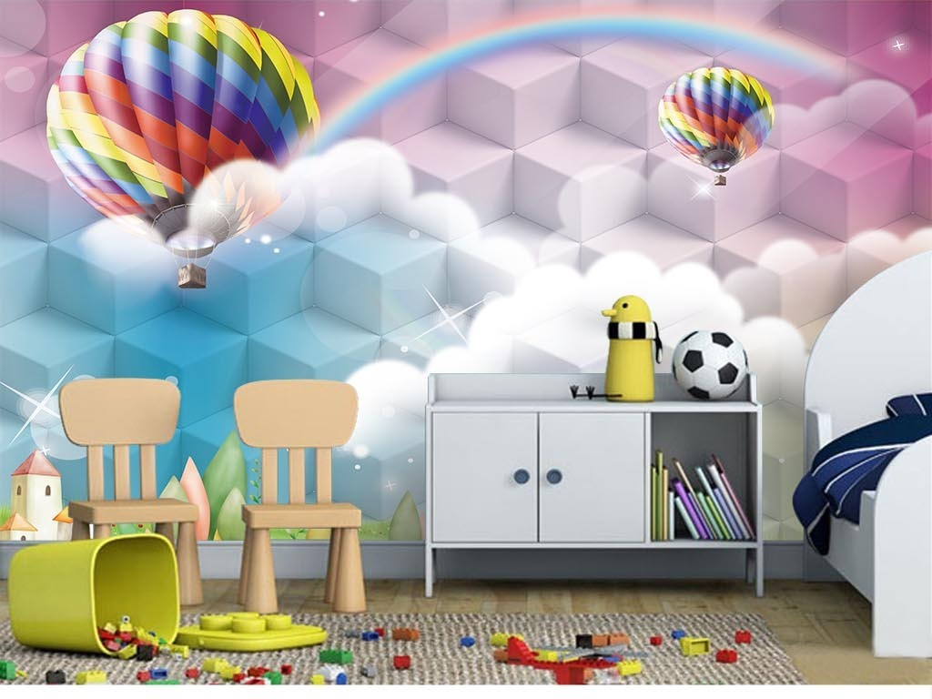 唯美卡通风景热气球儿童房立体背景墙