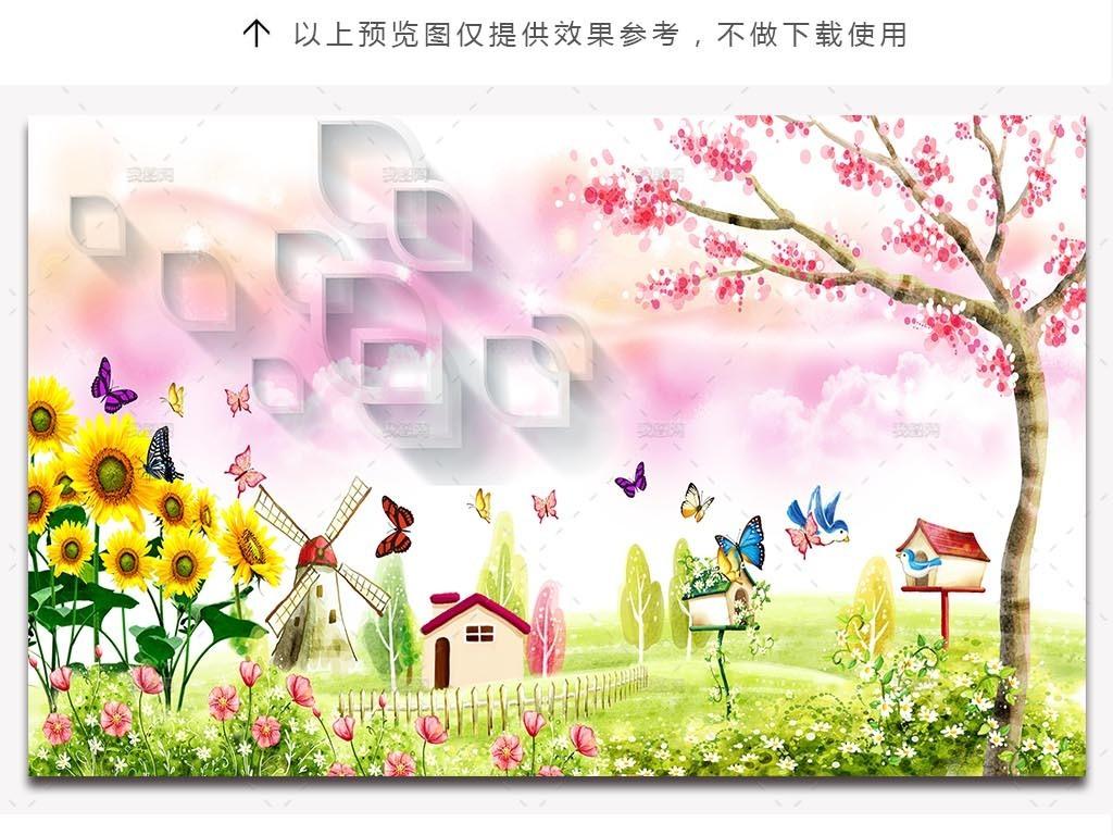 唯美手绘卡通花园风景儿童房背景墙
