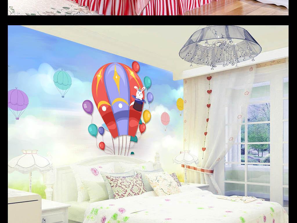 儿童画热气球飞行水彩画背景