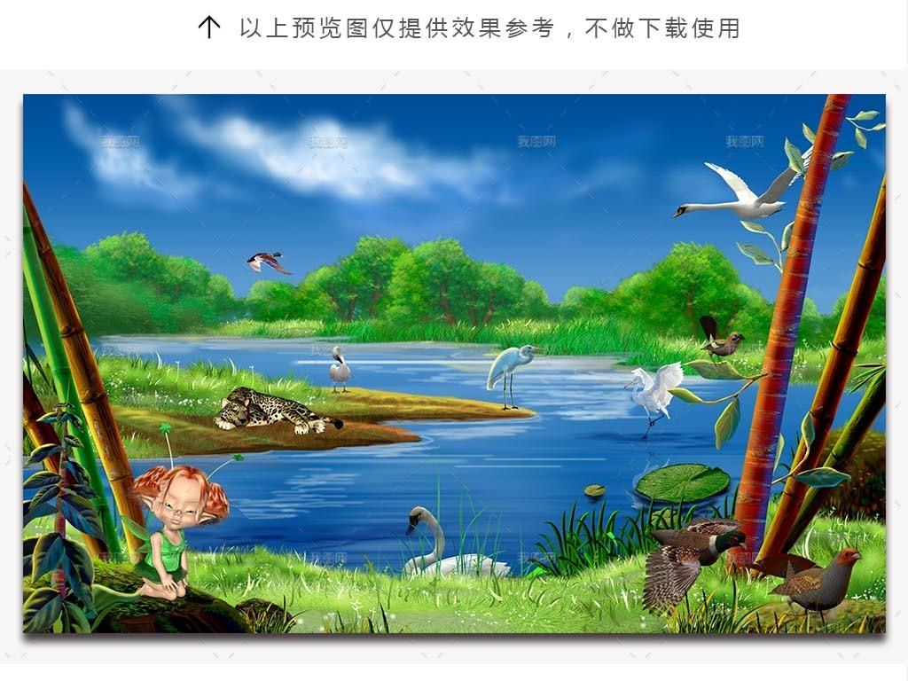 动物世界森林风景电视背景墙3d电视背景墙艺术玻璃电视背景墙中式背景