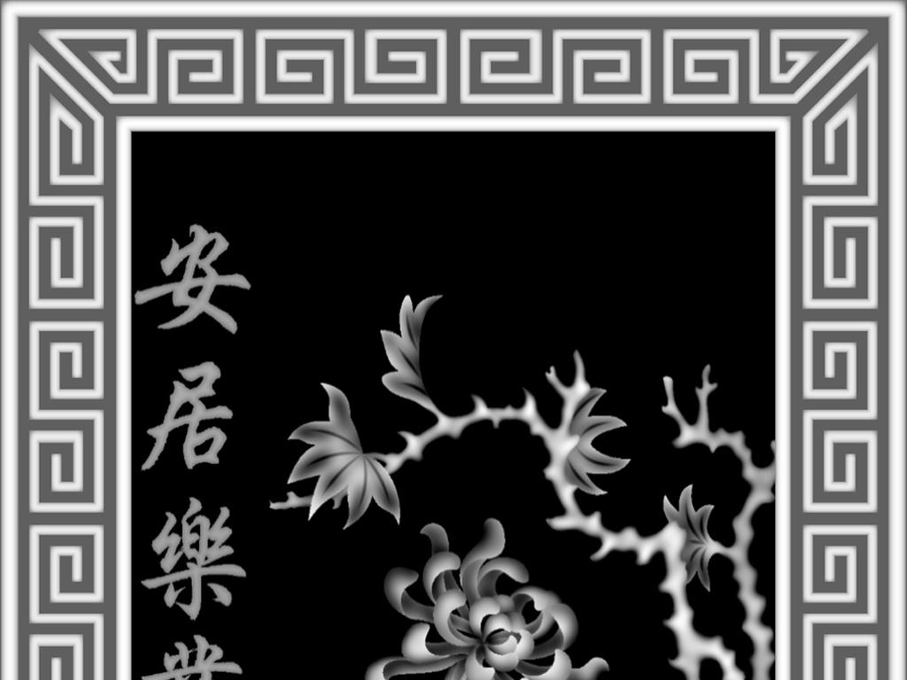 鸟jdp灰度图屏风精雕图灰度图家具雕刻艺术雕刻传统文化浮雕木雕