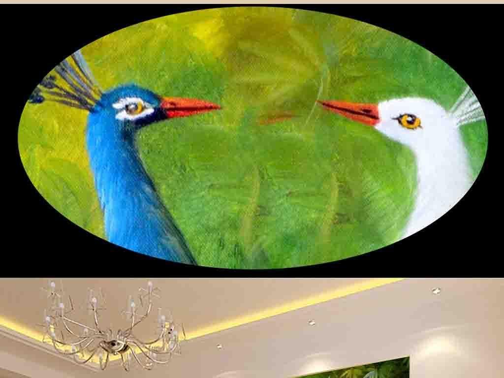 手绘油画孔雀背景墙