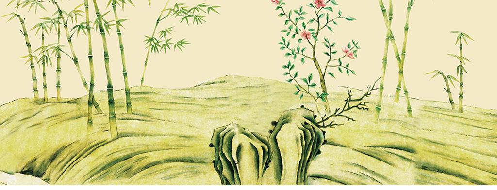 高清手绘工笔竹子花鸟壁画