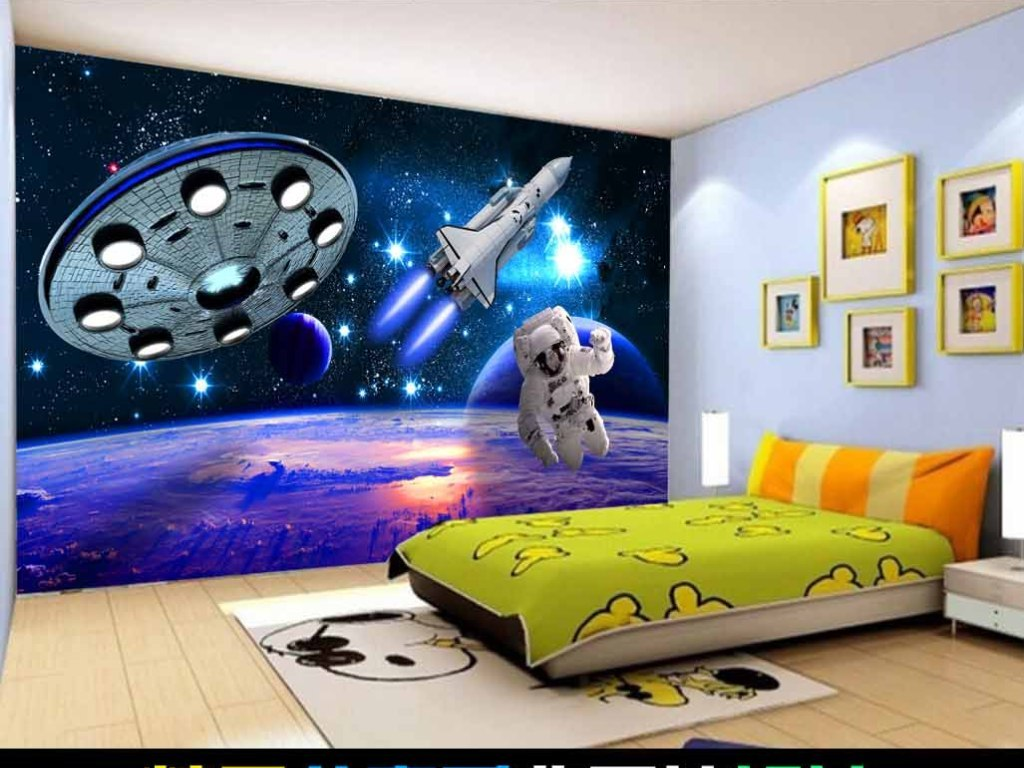 3d神秘宇宙星空儿童房背景墙图片