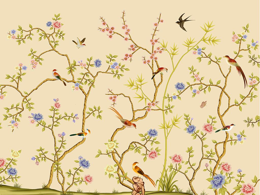 工笔画花鸟图喜鹊牡丹梅花树枝矢量花盆蝴蝶壁画壁纸图片