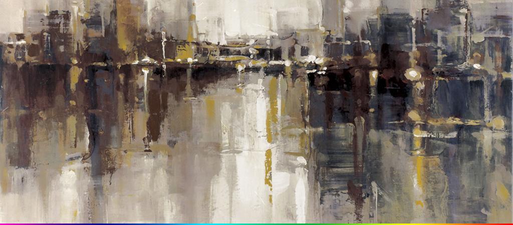 现代抽象艺术油画城市建筑摩天大楼背景墙