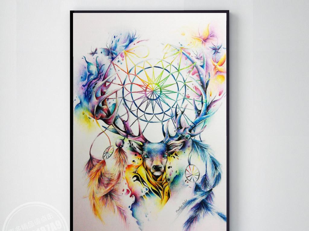 手绘水彩麋鹿无框画