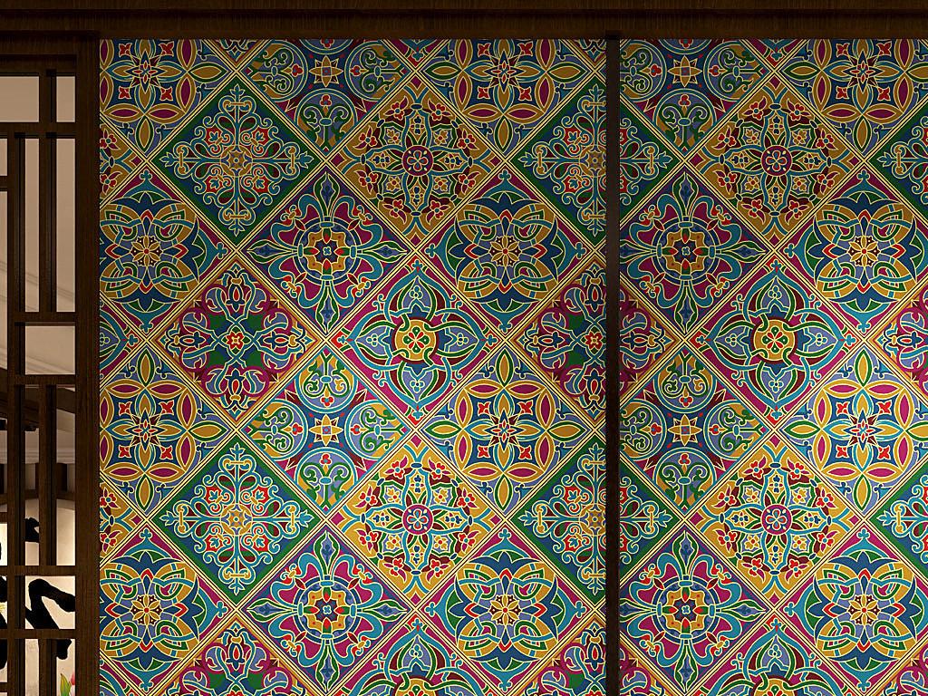 欧式花纹边框方形墙纸(图片编号:15548254)