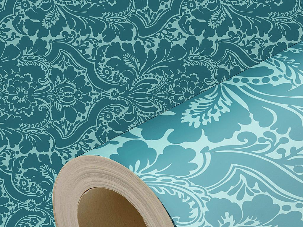 欧式花纹蓝色花纹墙纸图片