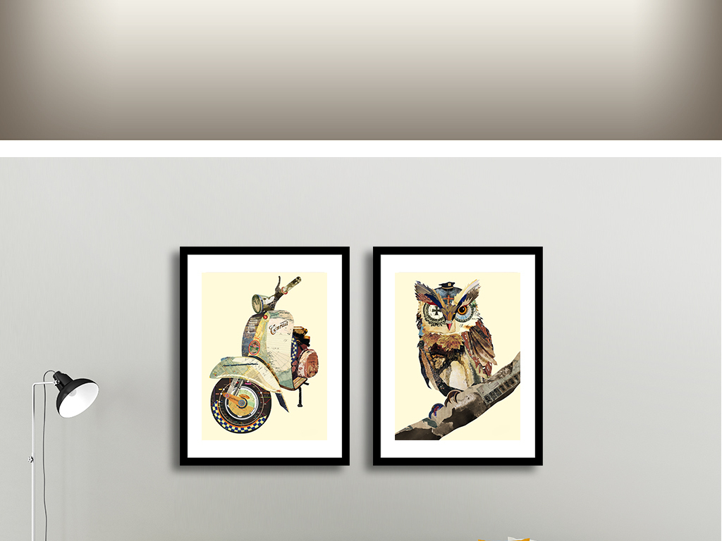 摩托车和猫头鹰手绘插画