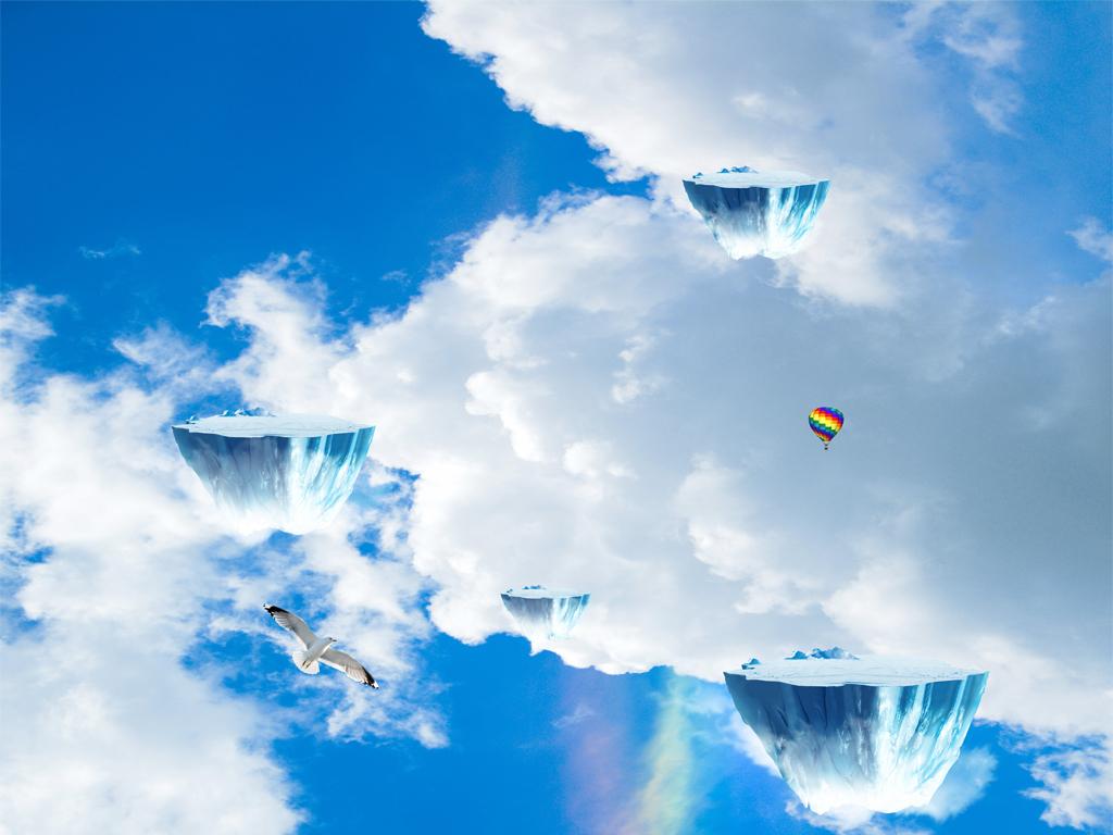 天空悬浮小岛飞鸟浴室厨房走道3d地板地贴