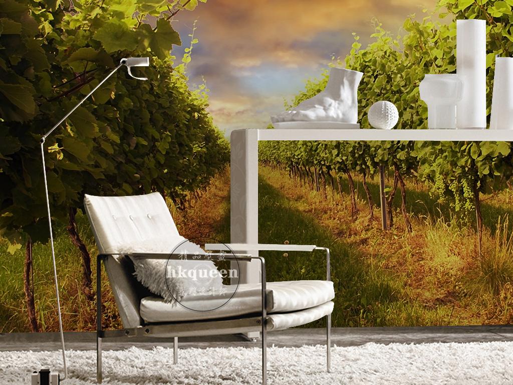 园室外背景墙_绿色葡萄园欧式复古大气时尚风景背景墙