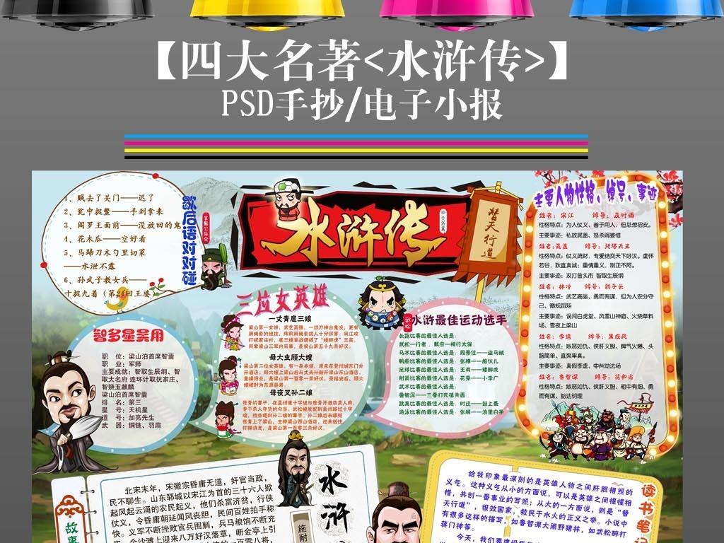 四大名著水浒传读书手抄报电子小报