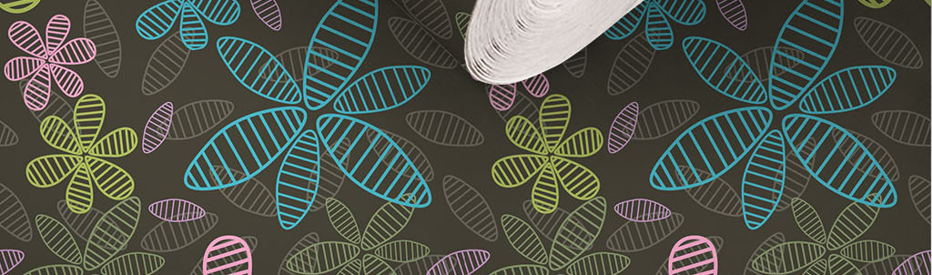 现代简约手绘花朵无缝墙纸