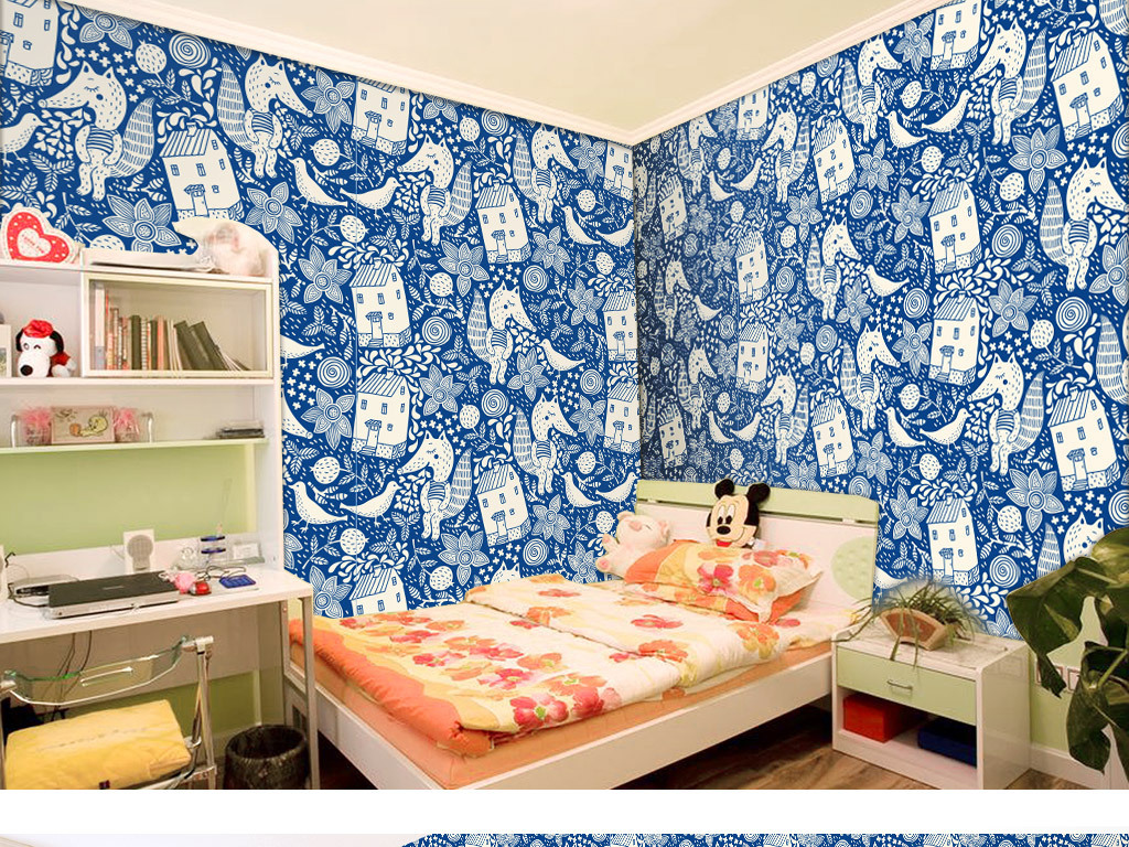 手绘卡通动物儿童房可爱墙纸