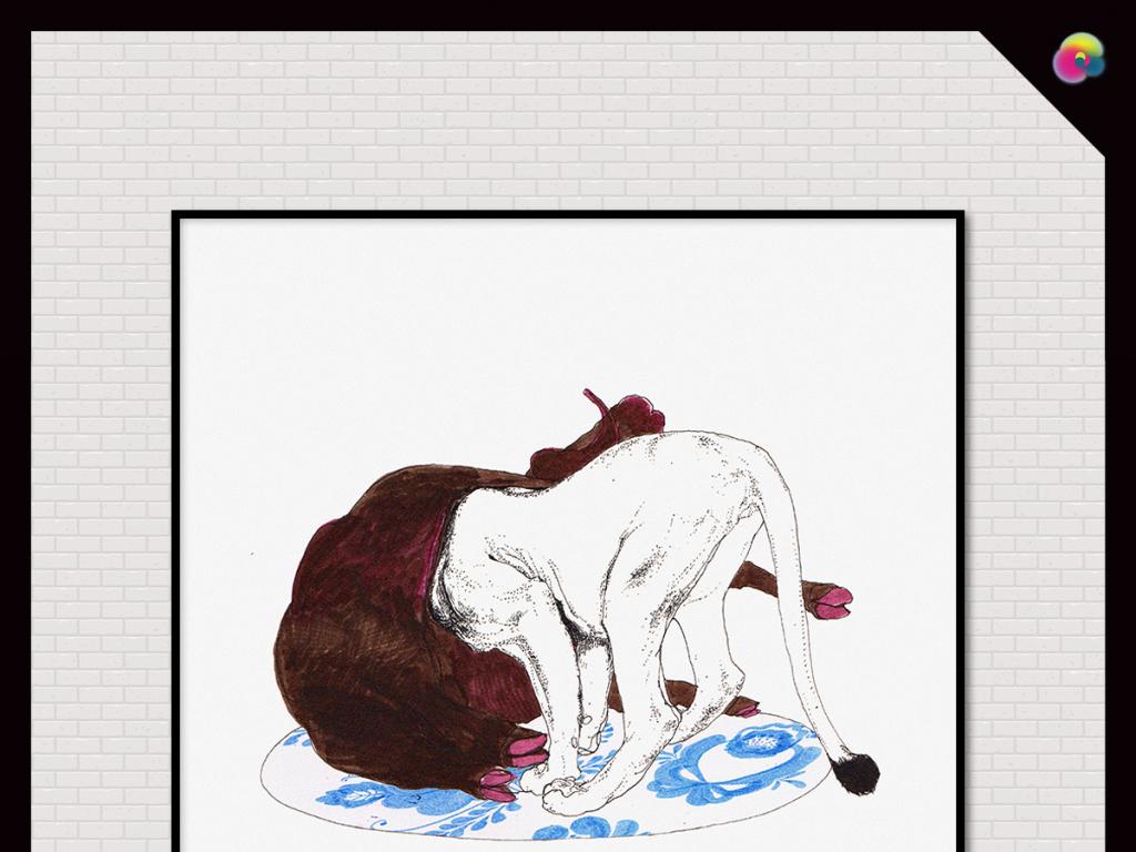 高清手绘水彩狮子捕猎装饰插画无框画