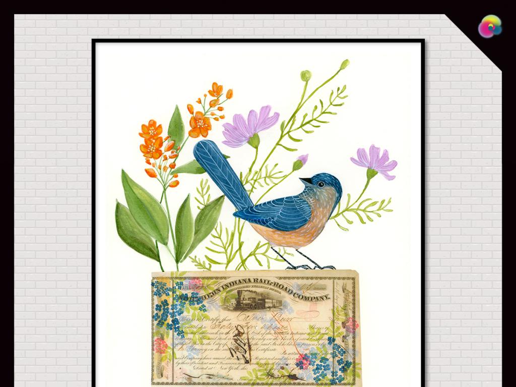 高清水彩画手绘花鸟高清壁画插画