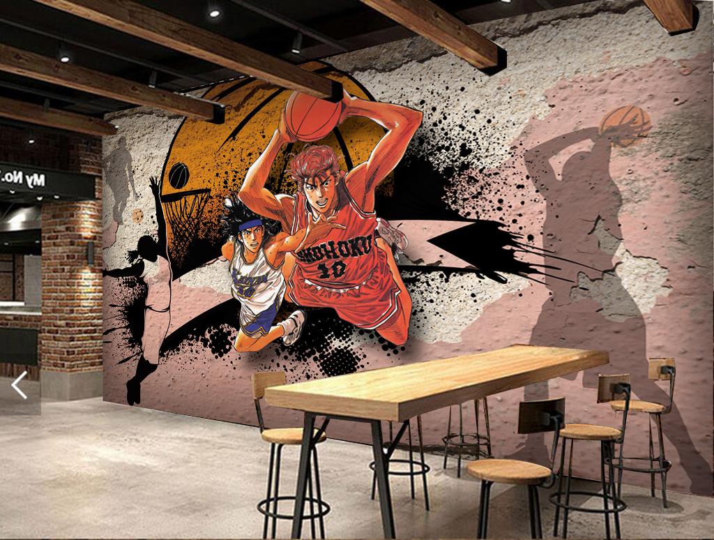 3d立体篮球动漫人物破旧墙壁工装背景墙