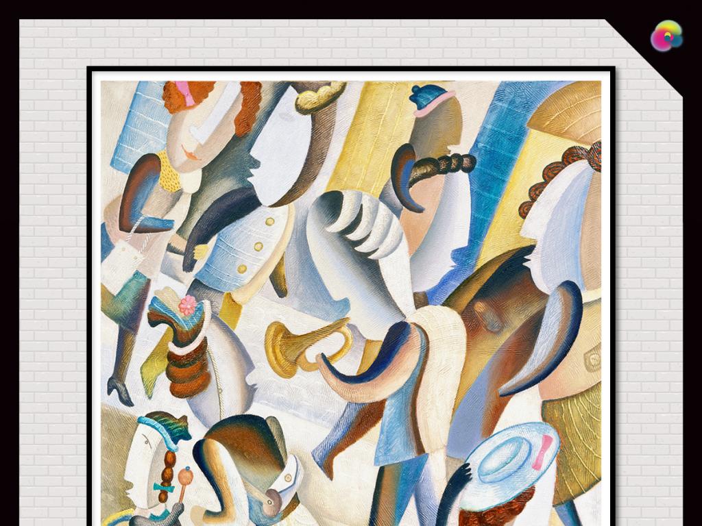 现代简约抽象手绘油画装饰画