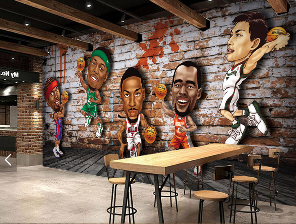 3d动漫砖墙木地板篮球体育工装背景墙