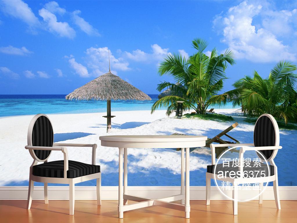 时尚简约沙滩椅大海椰树海边风光壁画背景墙