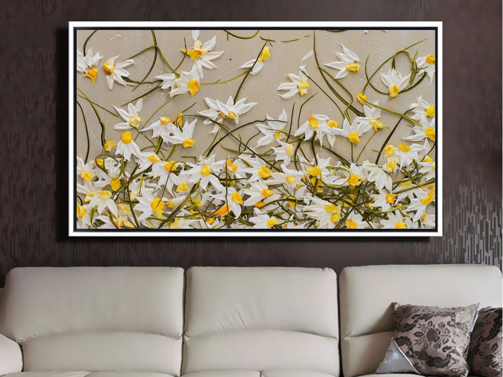 高清3d手绘花卉抽象厚油画刀画装饰画