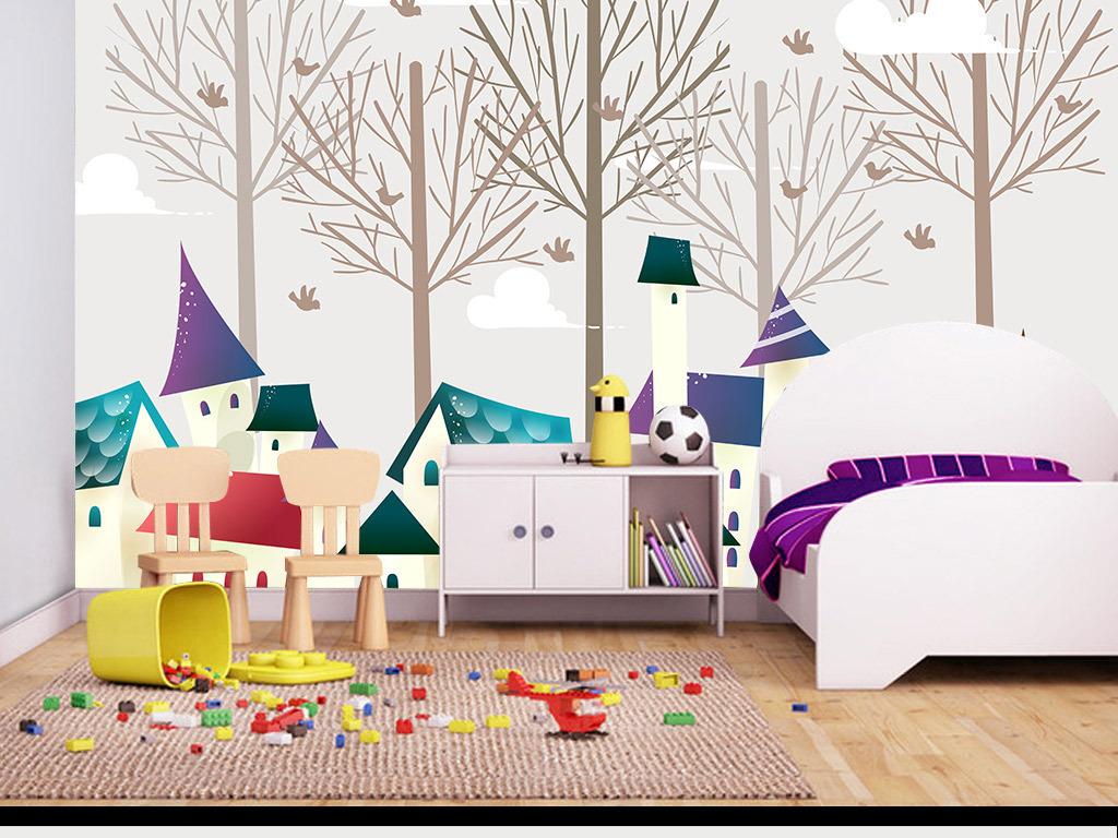 房子手绘树抽象树卡通树木简约小鸟树剪影壁纸壁画墙纸幼儿园室内装饰