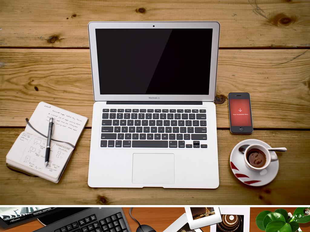 苹果电脑商务办公桌面场景背景图