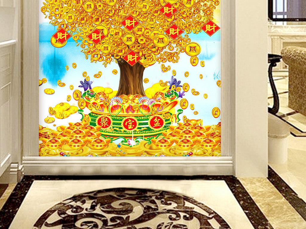 中国风吉祥寓意发财树招财进宝玄关图