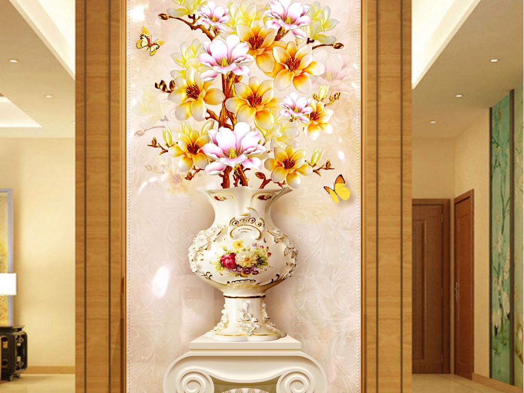 立体3d玉兰花花瓶罗马柱玄关壁画