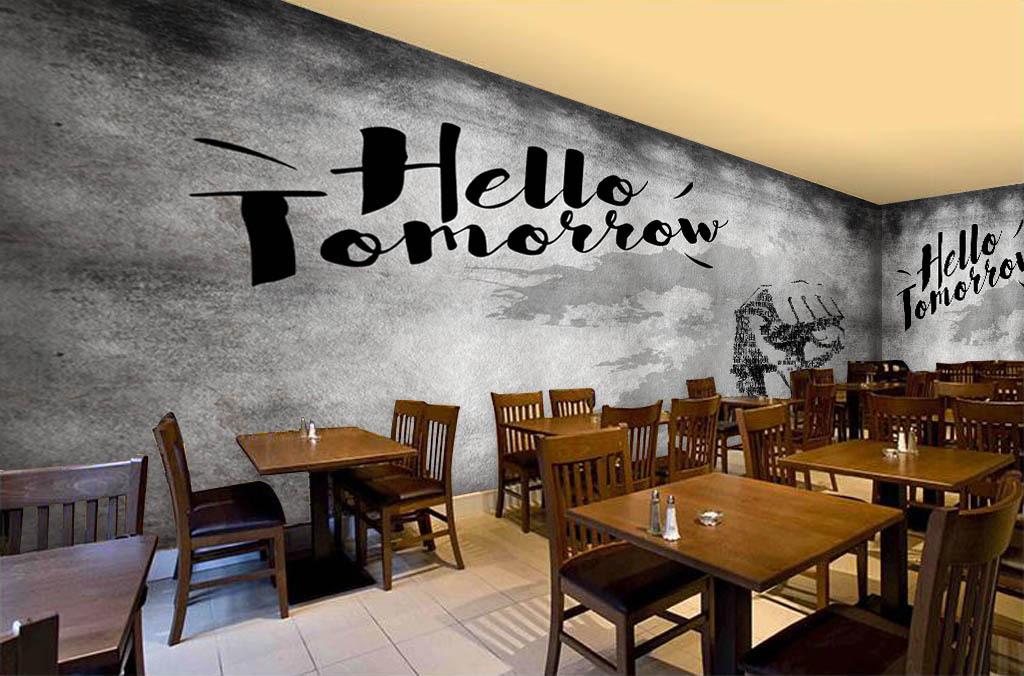 壁纸现代3d立体欧美砖墙手绘咖啡店酒吧西餐厅网吧网咖ktv墨迹水泥墙