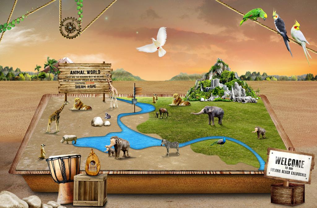 动物园动物世界假山立体3d唯美复古宣传画