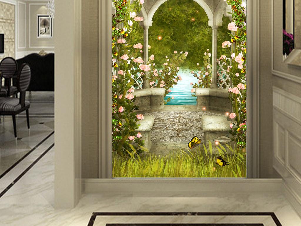 欧式拱门花藤3d玄关背景墙