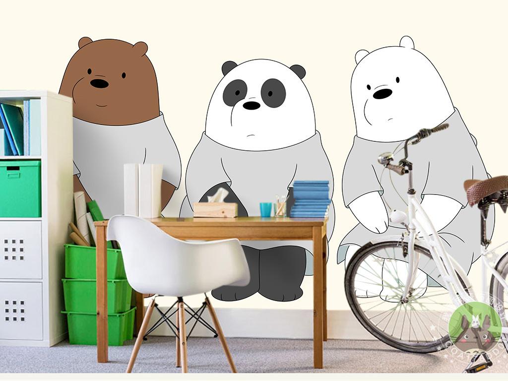 卡通手绘三只小熊儿童房背景墙
