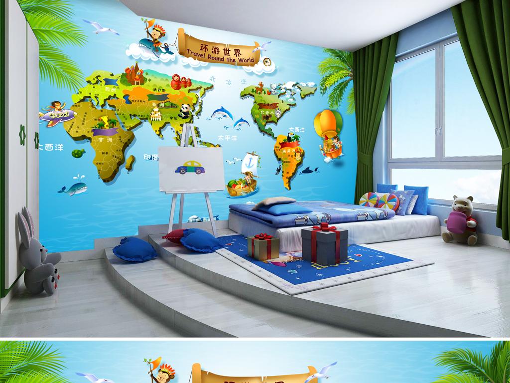 儿童背景墙母婴房公主房手绘花朵主题餐厅游乐园电视背景墙童话世界