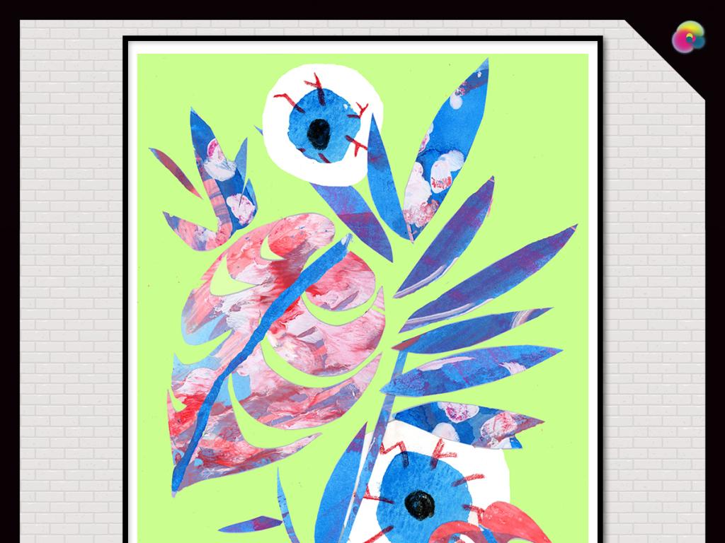 手绘抽象几何植物花卉图案插画玄关背景墙