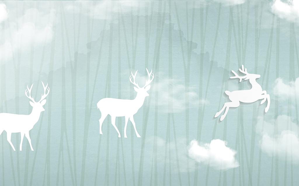 抽象手绘欧式怀旧麋鹿背景墙