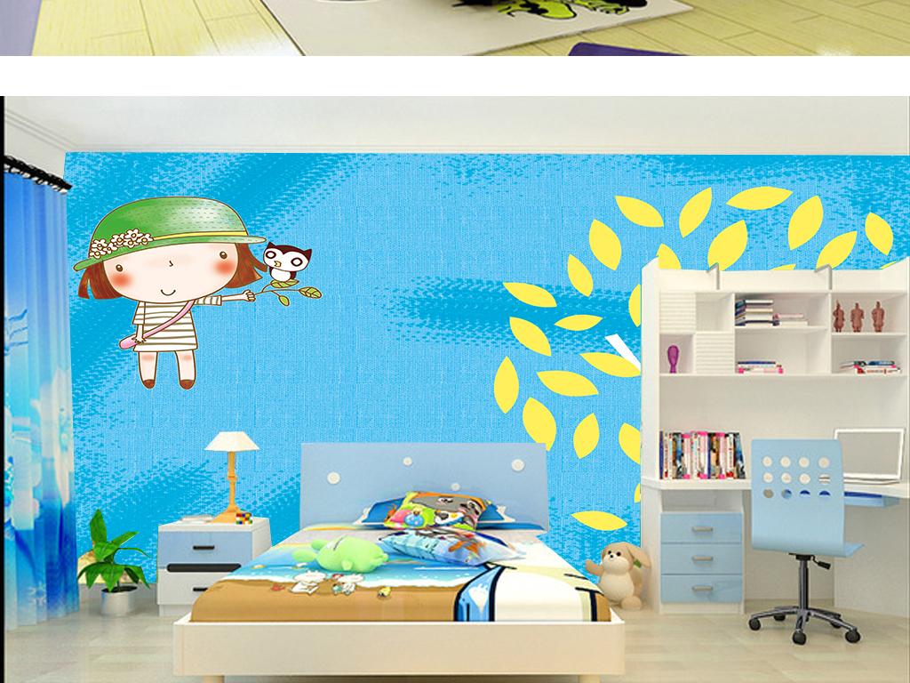 质感蓝色纹理手绘卡通人物儿童房背景墙壁纸