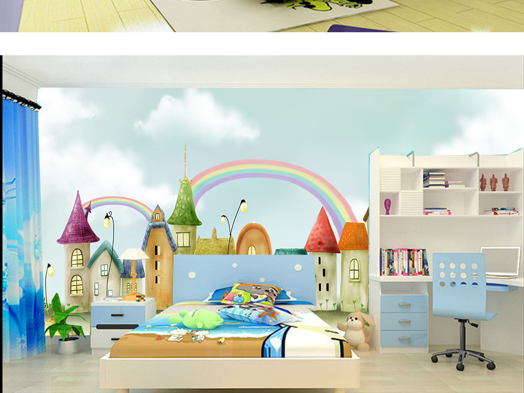 手绘彩虹城唯美可爱卡通儿童房壁纸墙纸