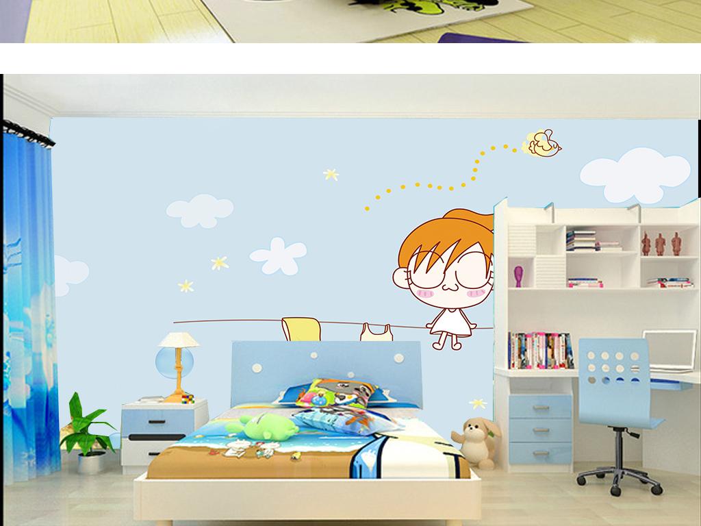 手绘可爱卡通女孩淡蓝色唯美儿童房壁纸
